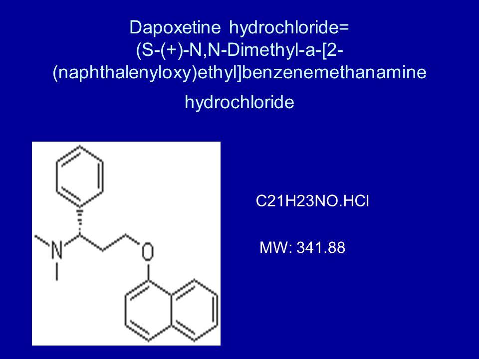 Dapoxetine hydrochloride= (S-(+)-N,N-Dimethyl-a-[2-(naphthalenyloxy)ethyl]benzenemethanamine hydrochloride